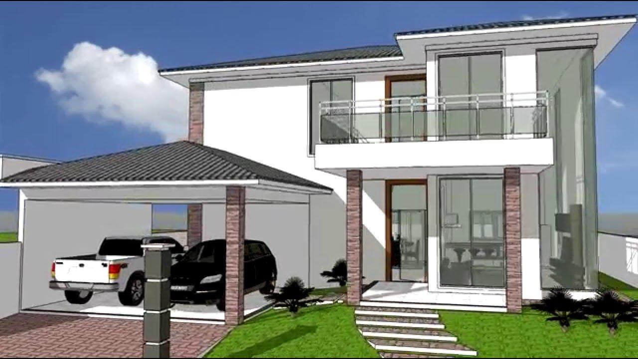 Desenho 3d sobrado resid 01 youtube for Casas 3d