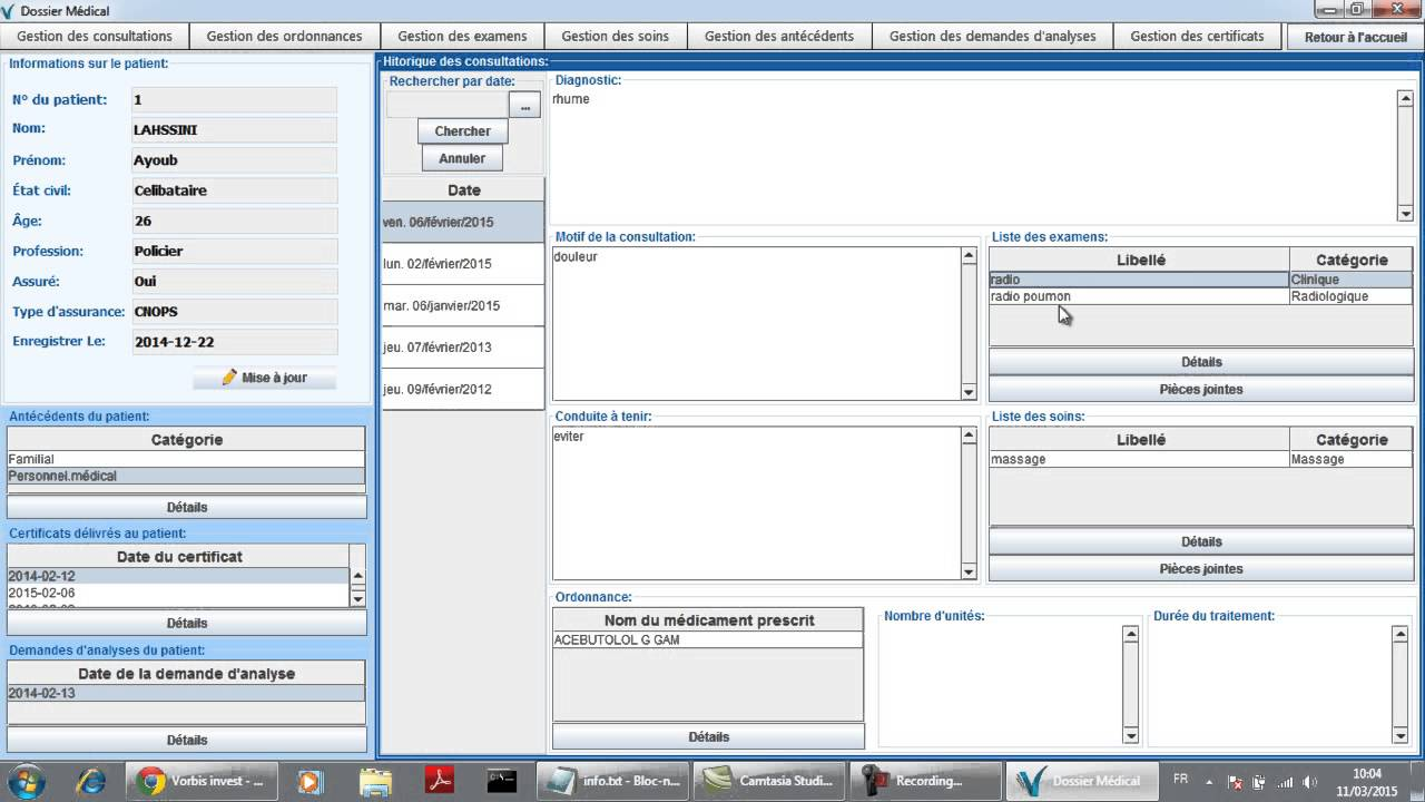 Application de gestion de cabinet m dical d monstration - Application gestion cabinet dentaire ...