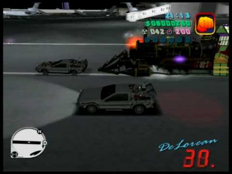 Back to the future - GTA - Train + Delorean vs Delorean