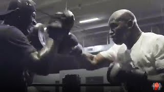 EVANDER HOLYFIELD THROWING FAST COMBINATIONS ON THE PADS AS COMEBACK TRAINING CONTINUES!