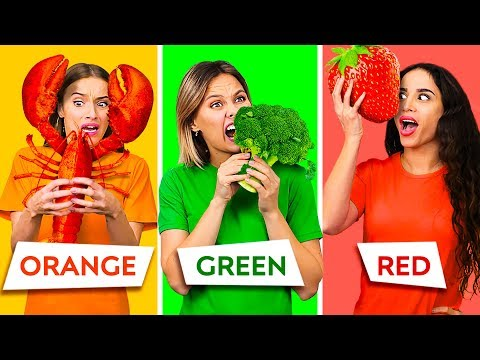 EATING ONLY ONE COLOR OF FOOD FOR 24 HOURS    Last To STOP Eating Wins! Pranks By 123 GO! CHALLENGE