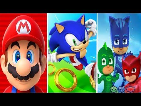 Super Mario Run vs Sonic Dash vs PJ Masks Super City Run
