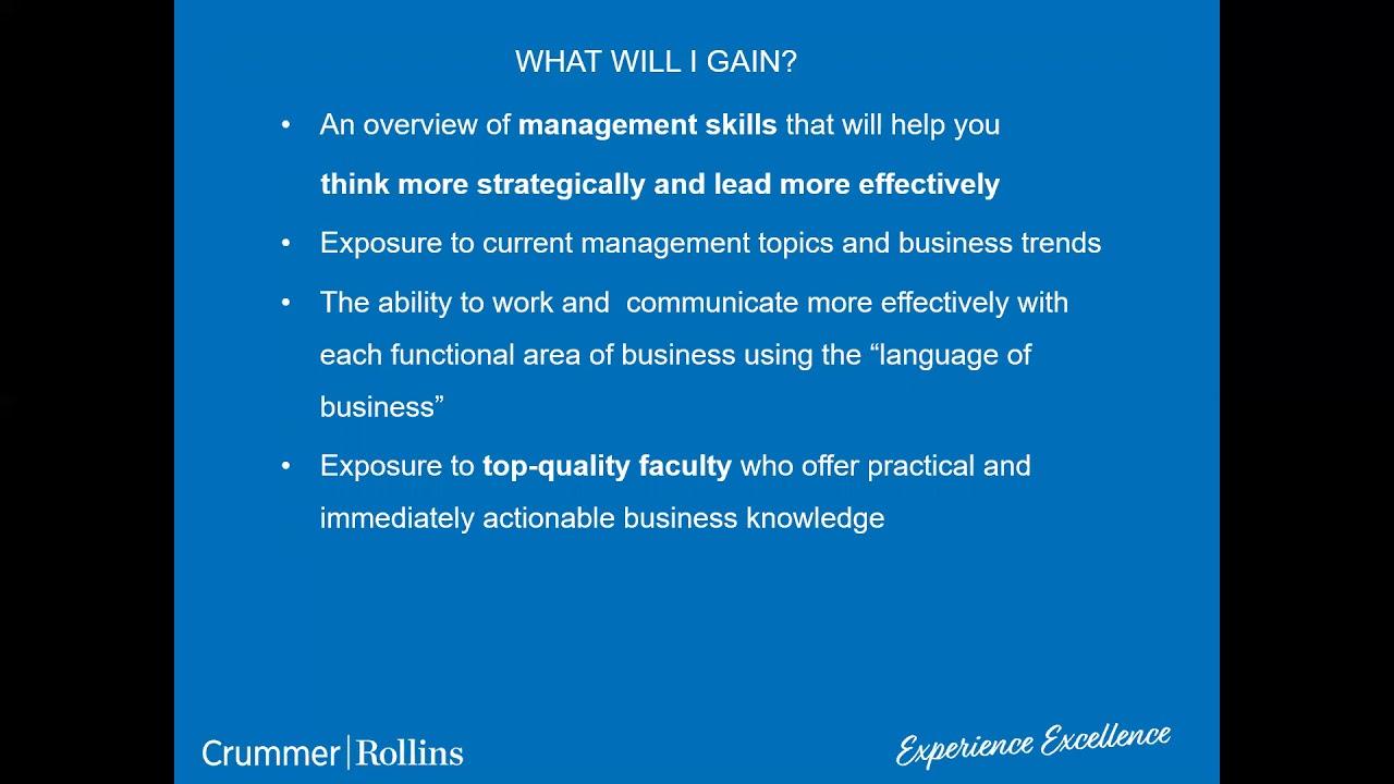 Mini-MBA Certificate Program | Rollins College Crummer