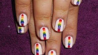 Vertical Rainbow Dots Nail Tutorial