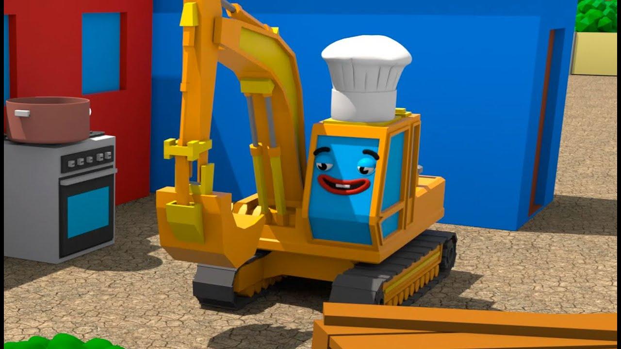 Экскаватор готовит брокколи - Городок Машинок - Мультфильмы для детей