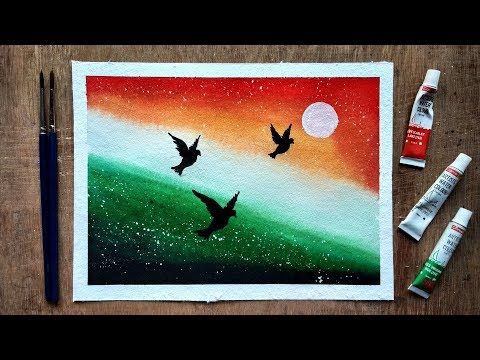 Independence / Republic Day Painting With Watercolour Step By Step   Beginners Watercolor
