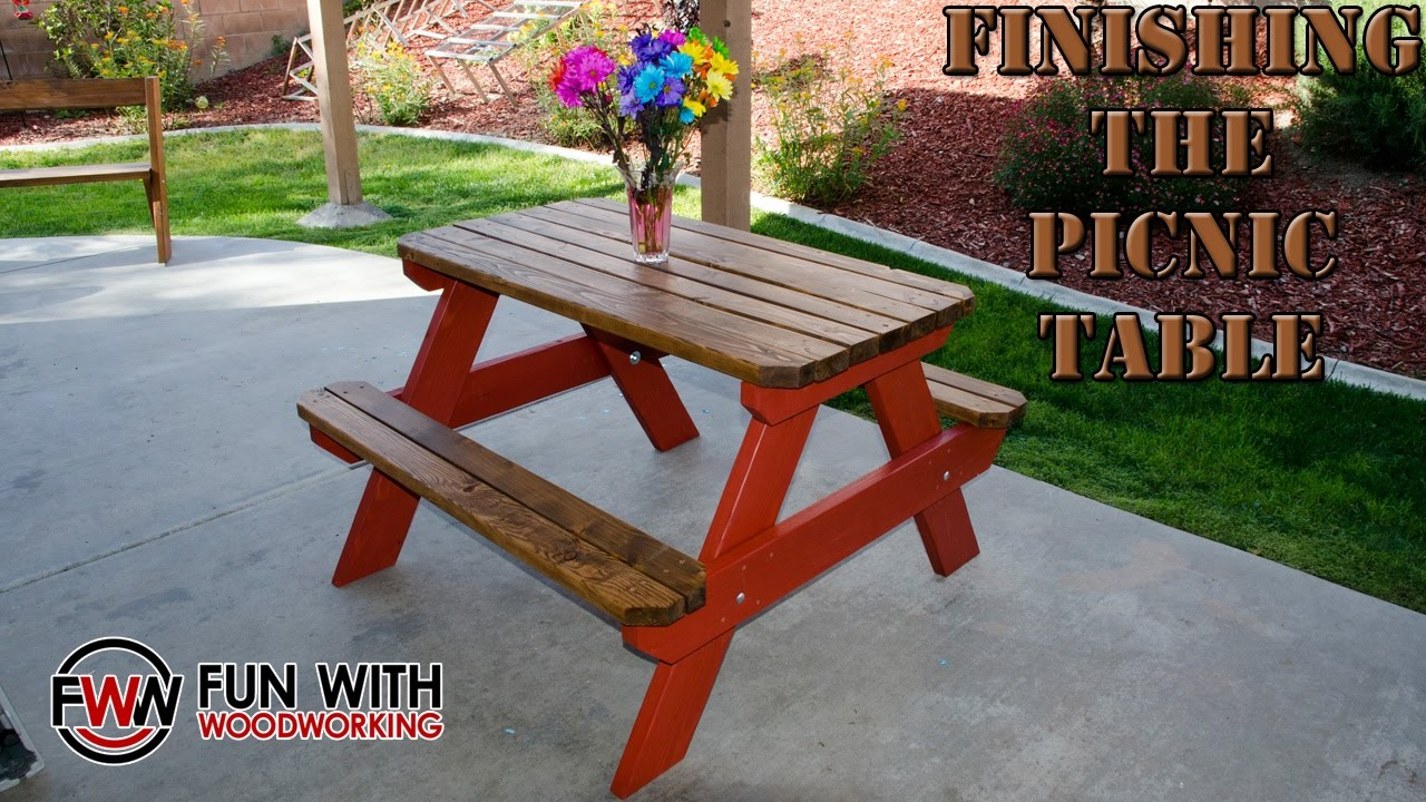 Project Update Finishing The Ft Picnic Table YouTube - Picnic table finish