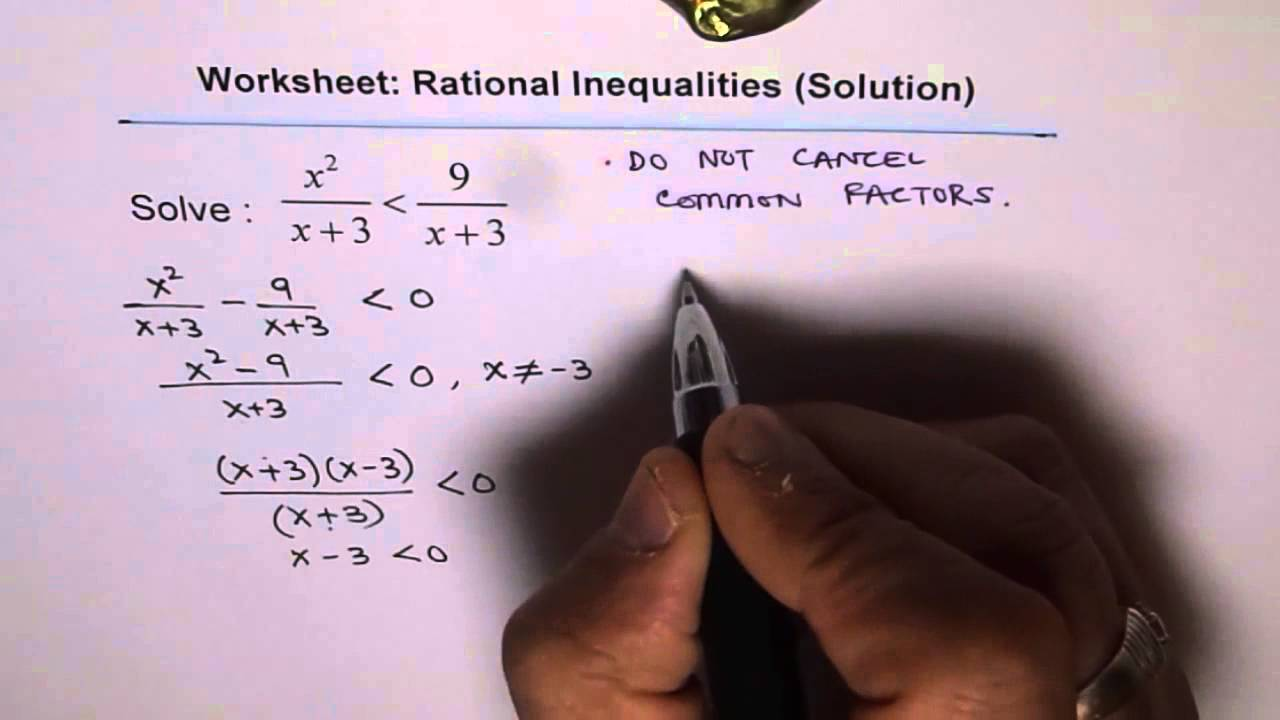 hight resolution of Rational Inequality Worksheet Q1 - YouTube
