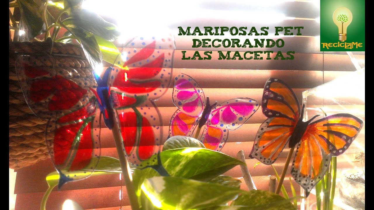 C mo hacer m s mariposas pet para decorar las macetas for Decoracion para pared en hierro