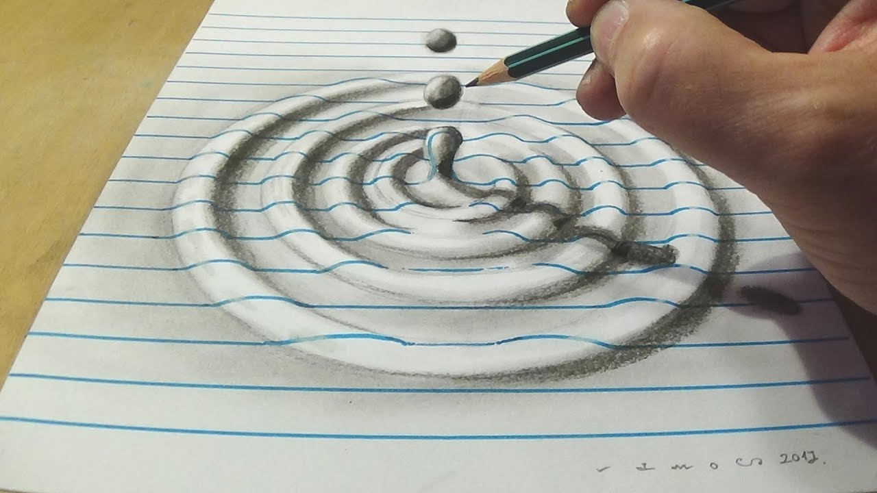How to draw water drop with charcoal pencil trick art on line paper anamorphic illusion
