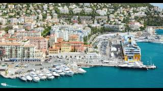 France, Nice, 15.09.2015: Nice port, Corsica ferry, luxury yachts, cote dazur