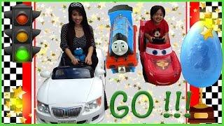disney cars lightning mcqueen power wheels car race cookie monster kids video egg surprise toys