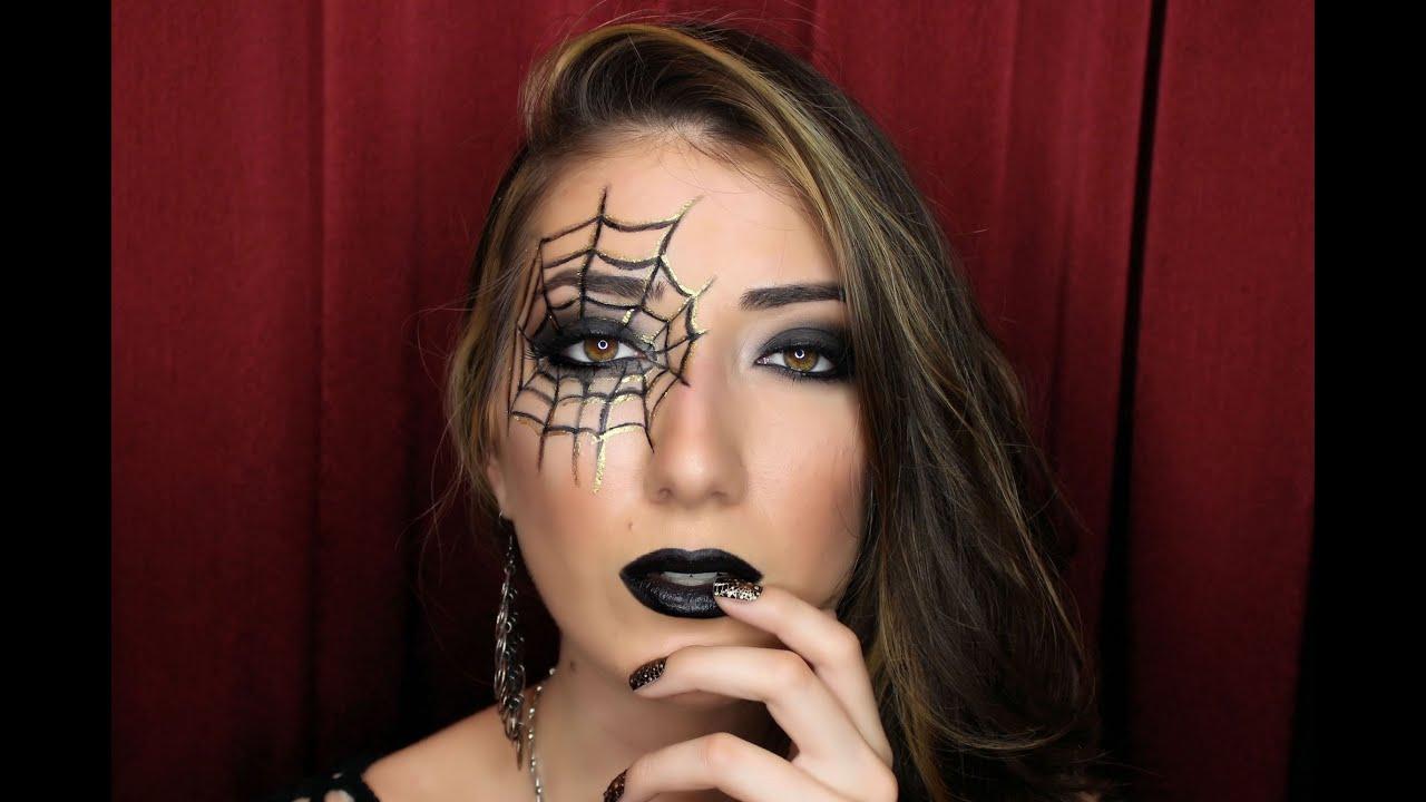 Spider Web Nails + Makeup Halloween Tutorial! - YouTube