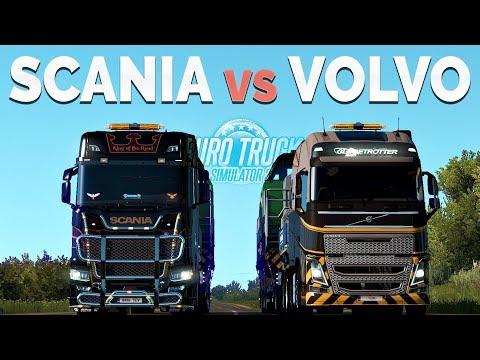 ETS2 - Comparison Scania vs Volvo (730HP vs 750HP)