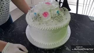 Простое оформление свадебного торта БЗК..  Hochzeitstorte