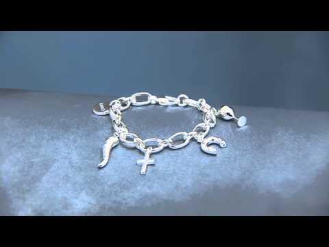 UltraFine Silver Italian Motif Charm Bracelet on QVC