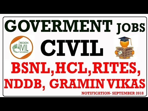 GOVERNMENT JOBS FOR CIVIL ENGINEERS SEPTEMBER 2018 Part 2 Vacancies
