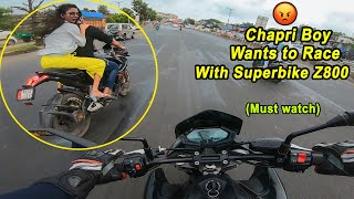 Cute Girl with Chaapri Boy wants to RACE with SuperBike | Pulsar RS 200 vs Z800 | Epic Reaction