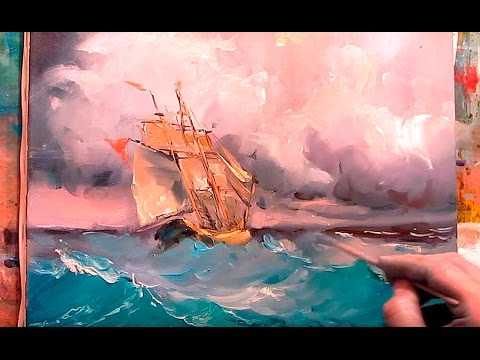 Oil painting. Seascape. Rough sea.