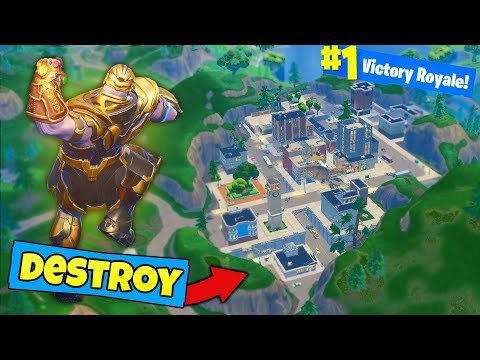 Can THANOS *DESTROY* TILTED TOWERS? - Fortnite Battle Royale