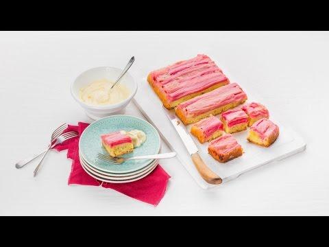 Omgekeerde rabarbercake met lemoncurdcrème – Allerhande