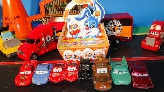 Pixar Cars, 4 Kinder Surprise Eggs for Easter delivered by Team Motor Max Hauler to Flo, Lizzie, Sal