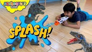 Slime Gun vs. Dinosaurs | Skyheart Toys hide and seek alpha raptor blue trex toys