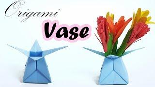 Origami Vase  ★ How to make paper vase flower pot - Star candy box Valentine's basket Star Vase Bowl