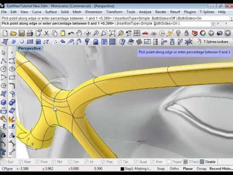 Creating eyewear using T-Splines for Rhino 3d
