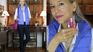 OOTD: Periwinkle Puffer Vest, Black Pants, Booties, Crossbody / Classic Fashion, Style Over 40, 50