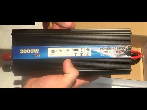 Преобразователь напряжения (инвертор)  автомобильный 2000 W. Видео №115
