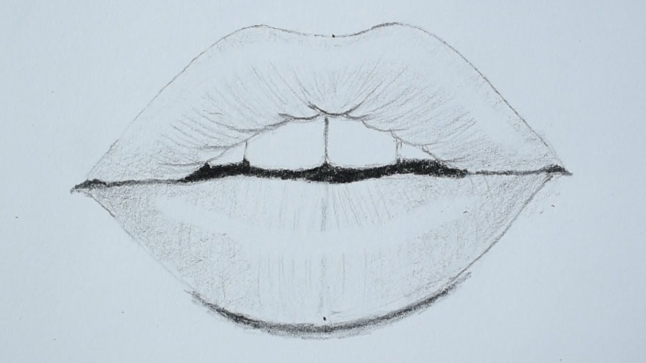 How to draw lips using pencil for beginners - YouTube