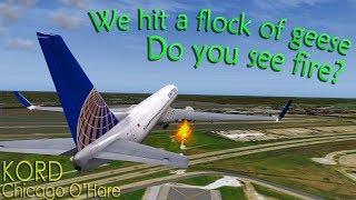 [REAL ATC] United B739 STRIKES A FLOCK OF GEESE + ENGINE FIRE!