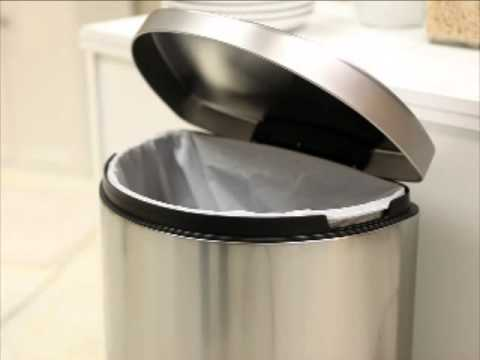 simplehuman semi round step trash can brushed stainless steel product review video