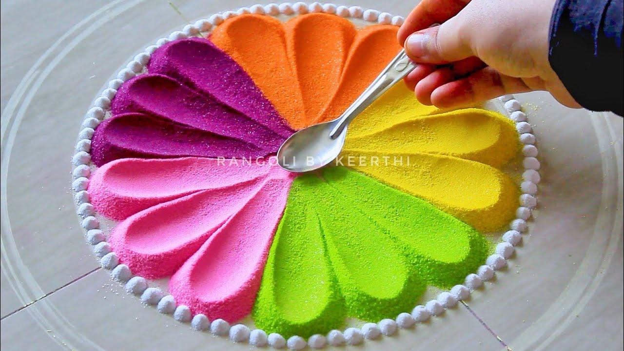 Simple rangoli design l Ugadi rangoli designs with colours l gudi padwa rangoli l रंगोली डिजाइन