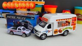 Видео для детей про машинки для мальчиков. Машины фаст фуд и Полицейская Распаковка игрушек mirglory