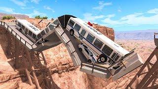Collapsing Bridge Pileup Car Crashes #22 - BeamNG DRIVE   SmashChan