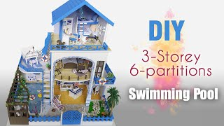 DIY   Miniature Dollhouse Rooms 3-Storey with swimming pool (6 partitions)
