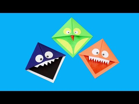 Easy Paper Monster & Owl Corner Bookmarks | kids paper crafts