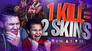 1 KILL = 2 FREE SKINS FOR MY 9 YEAR OLD LITTLE BROTHER! 9 YEAR OLD PLAYS SOLO FORTNITE BATTLE ROYALE