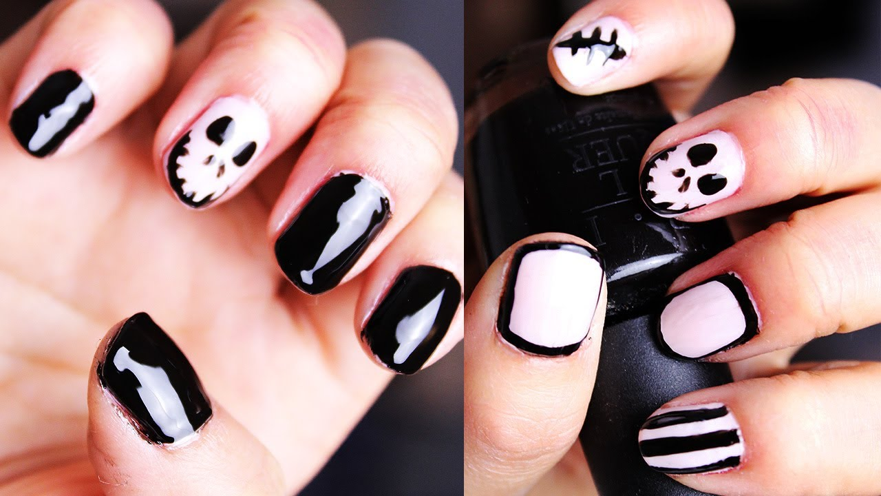 Easy Jack Skellington Halloween Nails - YouTube