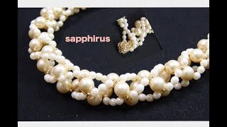 【ビーズステッチ】パールネックレスの作り方☆針と糸で編むパールアクセサリー How to make a pearl necklace.
