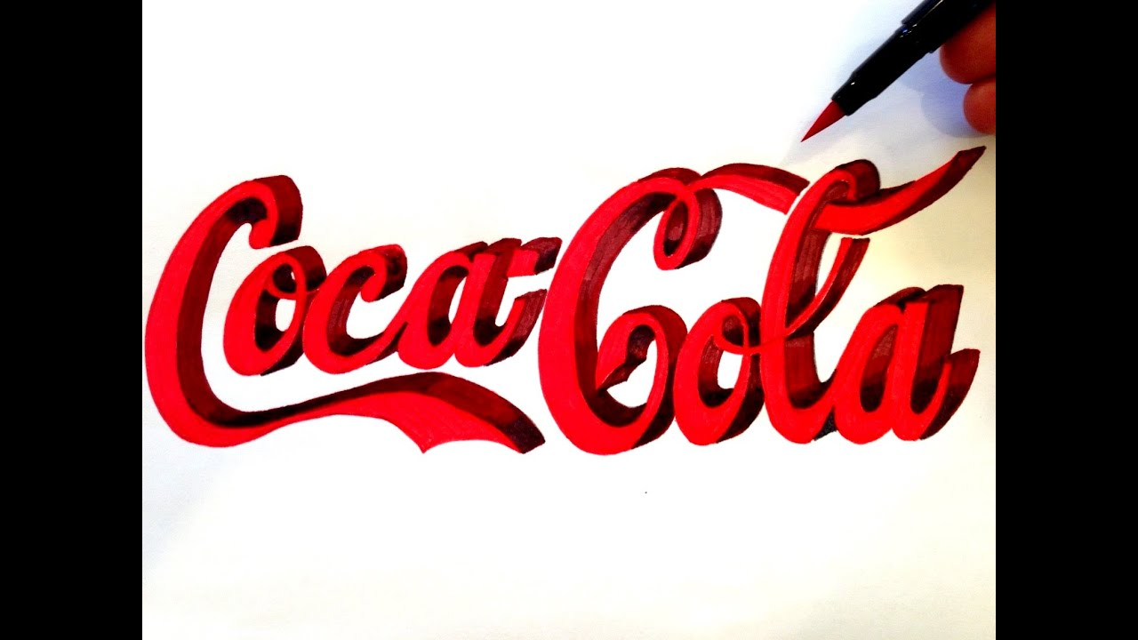 how to draw the coca cola logo in 3d freehand youtube