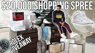 $20,000 GUCCI SHOPPING SPREE + OFF-WHITE JORDAN 1'S + ROLEX GIVEAWAY FT. GODSONTHEPLUG!!! (INSANE)
