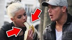 Blondine isst eine Banane! PRANK