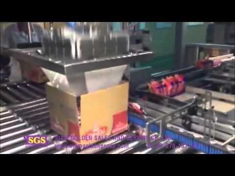 เครื่องเรียงสินค้าพร้อมบรรจุใส่กล่อง สินค้าประเภทมาม่า ขนม ซองต่างๆ