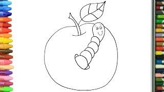 Pagina di colorazione Mela e Verme   Come disegnare e colora per i bambini