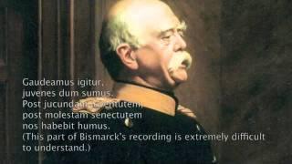 Otto von Bismarck (1815-1898). Einzige Aufnahme. Oktober 1889. Edison Phonograph