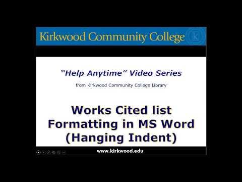 Formatting Works Cited List, MLA Format, Microsoft Word