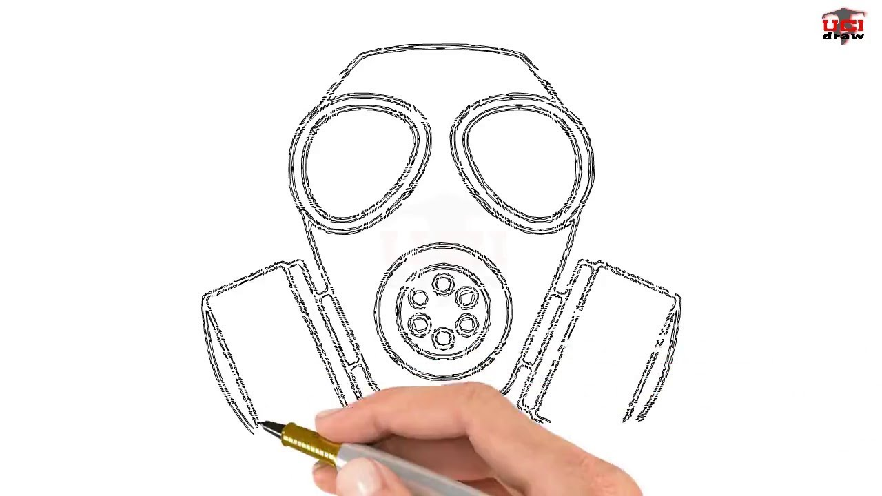 How To Draw A Gas Mask Step By Step Easy For Beginners Kids Simple